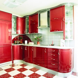 Bold Red Color Kitchen